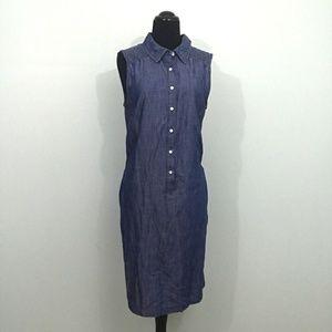 Talbots Blue Chambray Denim Look Half Button Dress